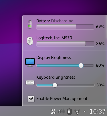 The redesigned battery applet in action