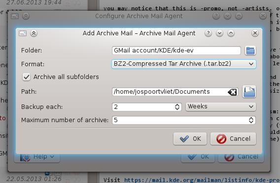 O agente de arquivamento gerencia o armazenamento de e-mails de modo compactado