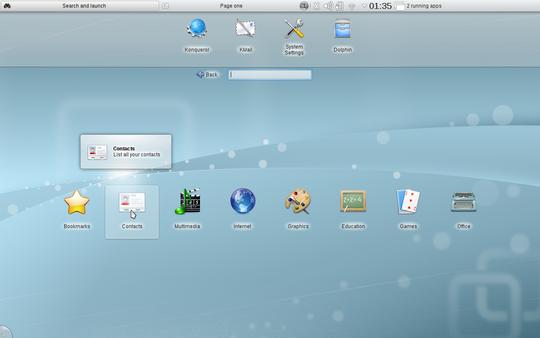 The KDE Plasma Netbook Workspace