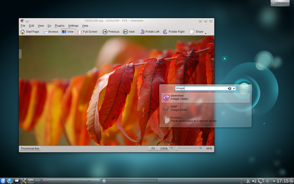 KDE Plasma Desktop, Gwenview and KRunner in 4.6