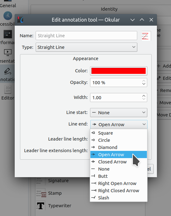 Okular annotation tool settings with the new Line end option