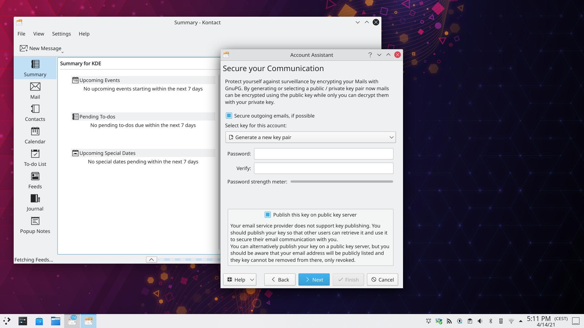Configuració de seguretat del KMail