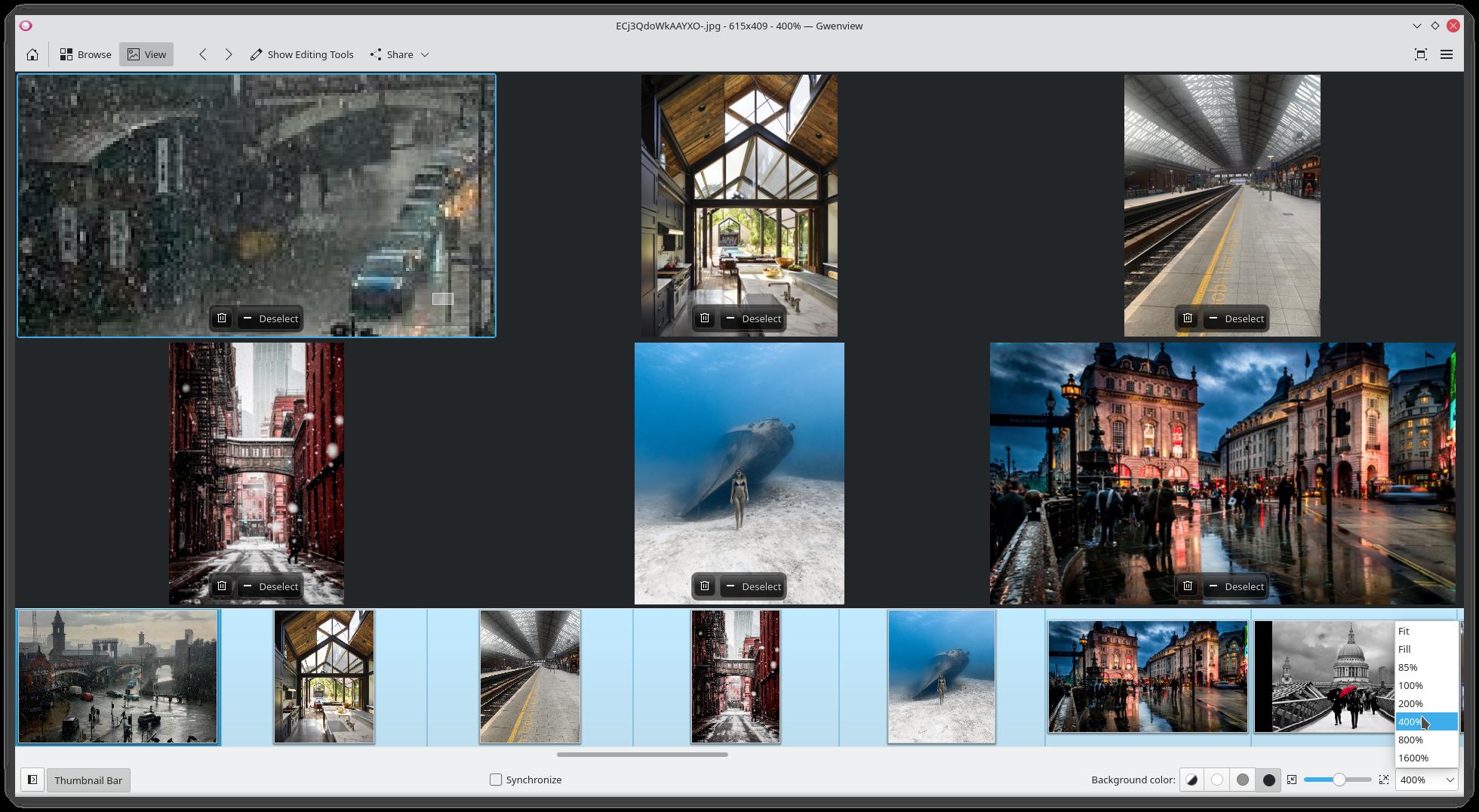 Gwenviews omkonstruerade zoomkontroll