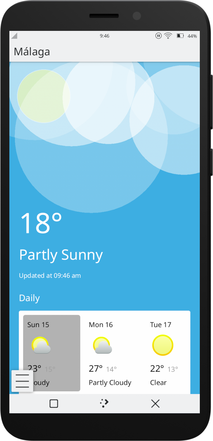 KWeather, Plasma mobile weather application