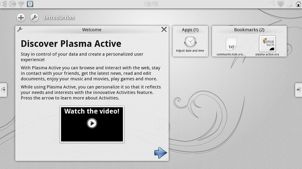Plasma Active's Welcome Activity