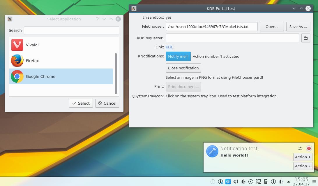 Integrering av Flatpak med xdg-desktop-portal-kde: val av en fil genom att använda filväljarportal, som startar openURI-portal och underrättelseportal