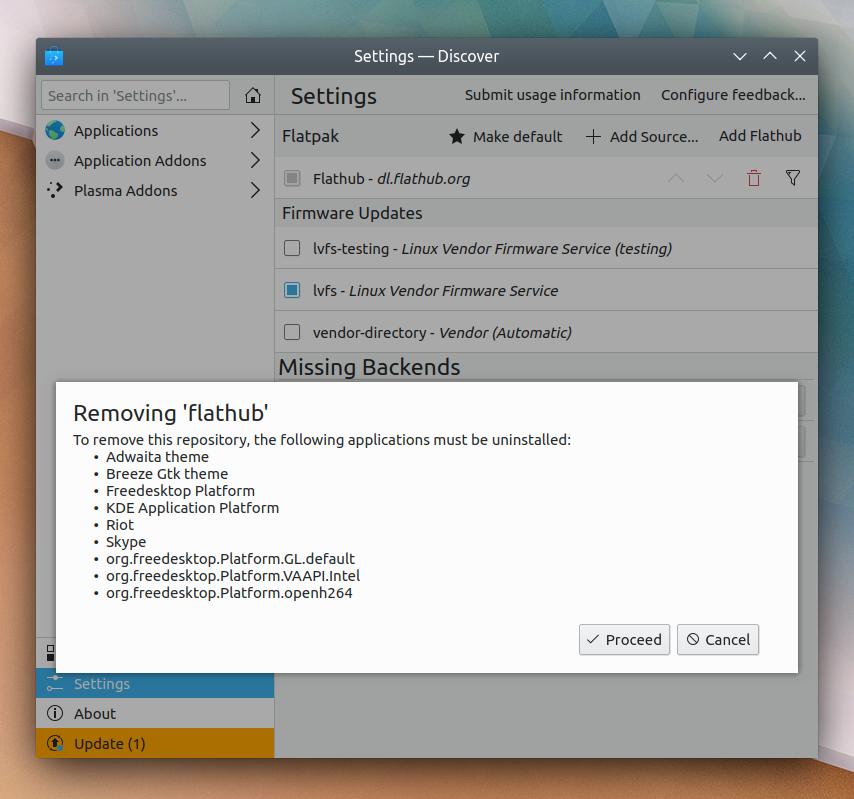La suppression de dépôt «Flatpak» dans l'application «Discover»