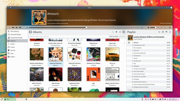 Plasma desktop showing a music player open