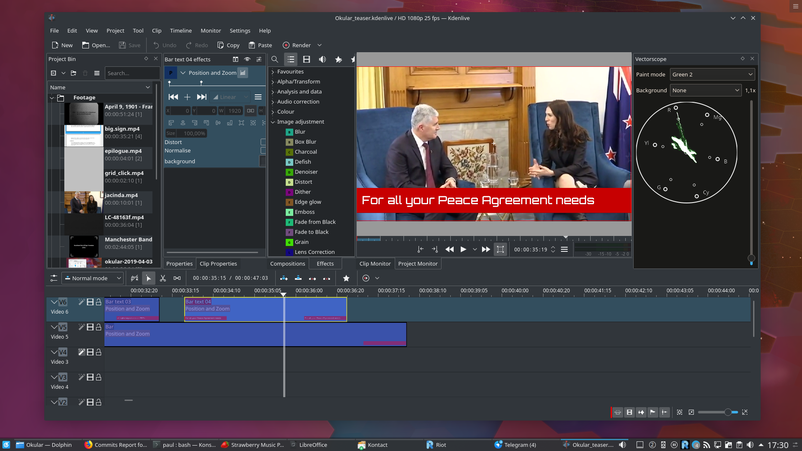 Screenshot of KDenlive in Plasma